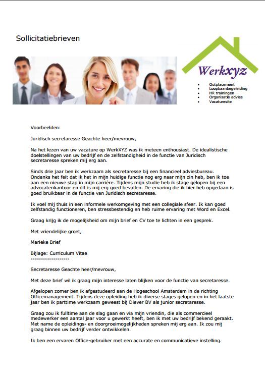 informele sollicitatiebrief voorbeeld Tip 3 De sollicitatiebrief | WerkXYZ informele sollicitatiebrief voorbeeld